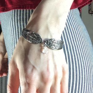 Silver Spoon Bracelet With Crystal Vintage
